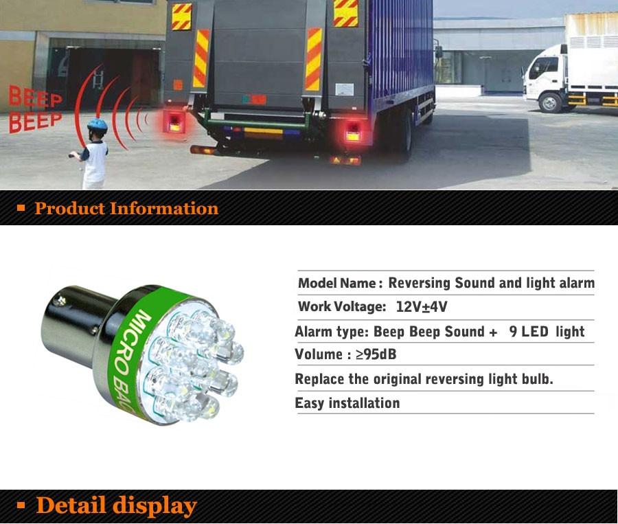 Beep som luz reversa lâmpada de alarme back up alerta sinal sonoro buzzer emite beep som ba15s p21w 1156 7506 3497 9led