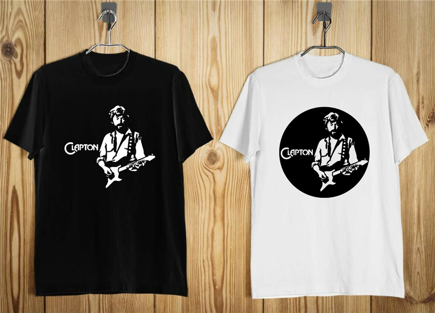 New Eric Clapton Rock Blues Guitarist Fifty Years Men'S T-Shirt Black And White Gym Tee Shirt image