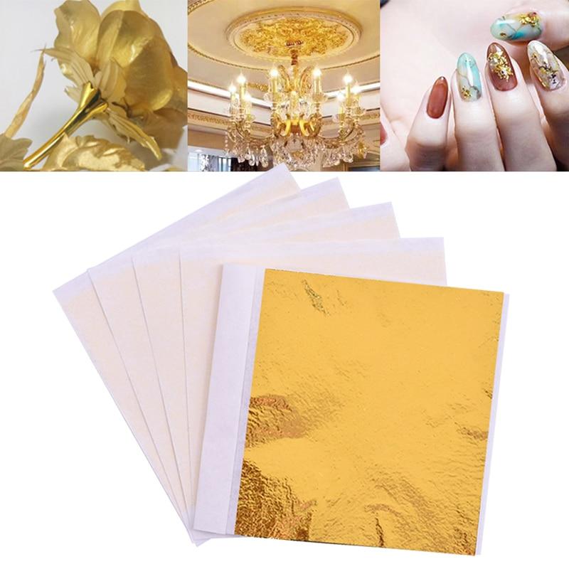 100pcs 8x8.5cm Art Craft Paper Imitation Gold Sliver Copper Leaf Leaves Sheets Foil Paper For Gilding DIY Craft Decoration