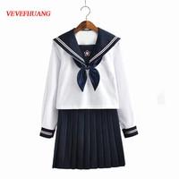 VEVEFHUANG New Arrival Japanese JK Sets School Uniform Girls Sakura Embroideried Autumn High School Women Novelty Sailor Suits