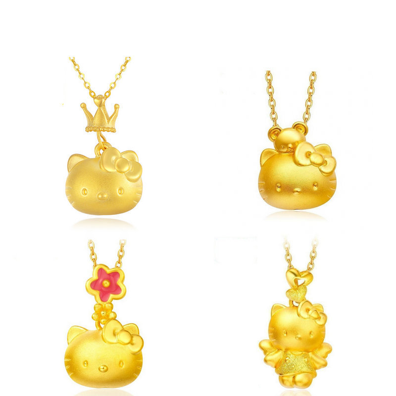 2020 Cartoon Kitty Pendant Necklace Female Gold Plated 3D Product Cute Multi-styling Valentine's Day Gifts on February 14