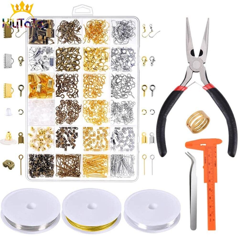Beading fio aberto anéis de salto brinco gancho kits acessórios jóias descobertas conjunto ferramentas para fazer jóias diy artesanato suprimentos