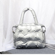 Bolso de algodón con almohadilla espacial para mujer, Bolsa de algodón de plumas, bolso de cubo, bandolera de nailon, Bolsa femenina