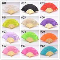 100pcs/lot Personalized Wedding Silk Hand Folding Fans With Gift Box Colorful Dancing Fans For Christmas Wedding Party Gift