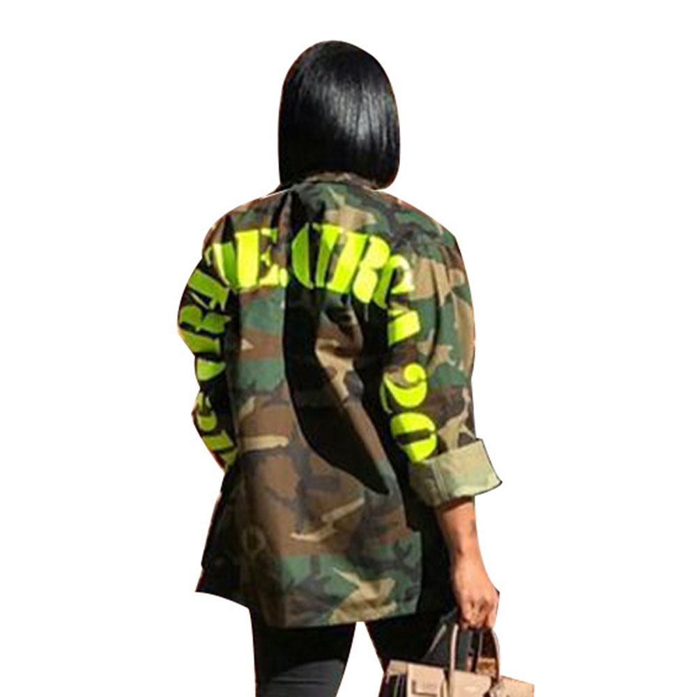 2019 Autumn Camouflage Autumn Jacket Women Fashion Streetwear Army Military Casual Letter Printed Cargo Plus Size Bomber Jacket