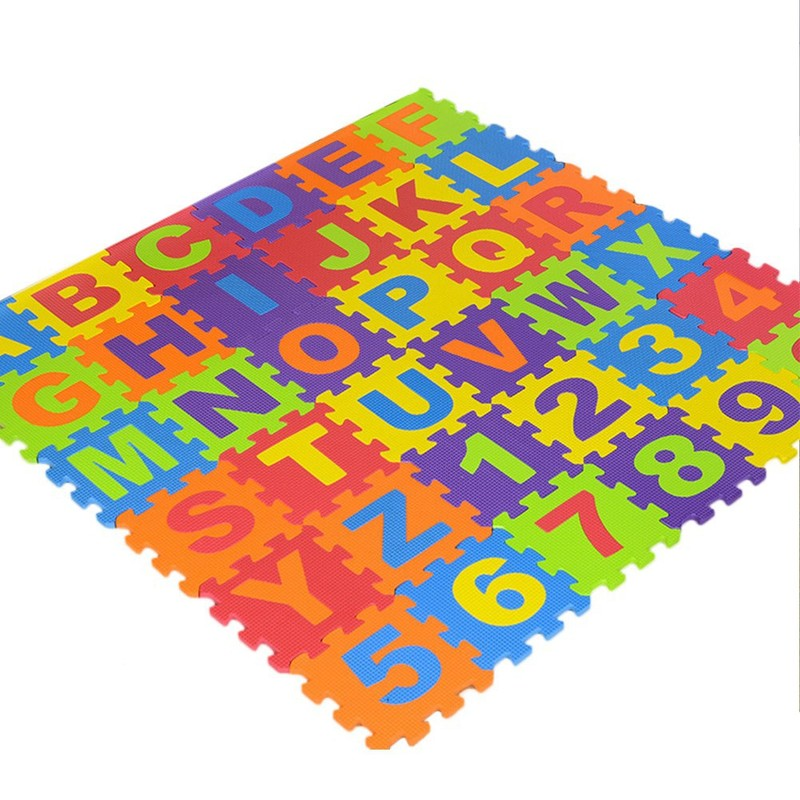 Zhenwei 36 Pcs Non Toxic Alphabet Puzzle Numbers Flooring Mat Learn Foam EVA Crawling Climbing Gym Mat Play Mat Toddler Toys