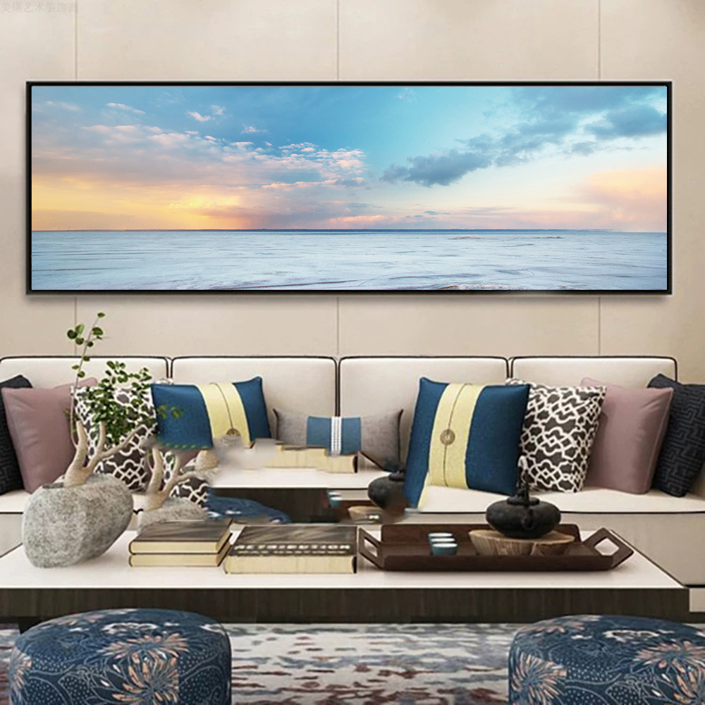 Natural Blue Sky Stone Beach Sunset Landscape Posters and Prints Canvas Painting