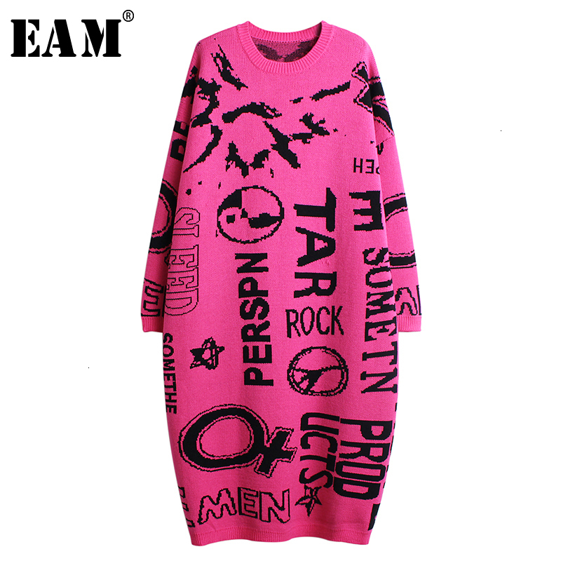 [EAM] Women Letter Split Big Size Knitted Dress New Round Neck Long Sleeve Loose Fit Fashion Tide Spring Autumn 2019 1K395