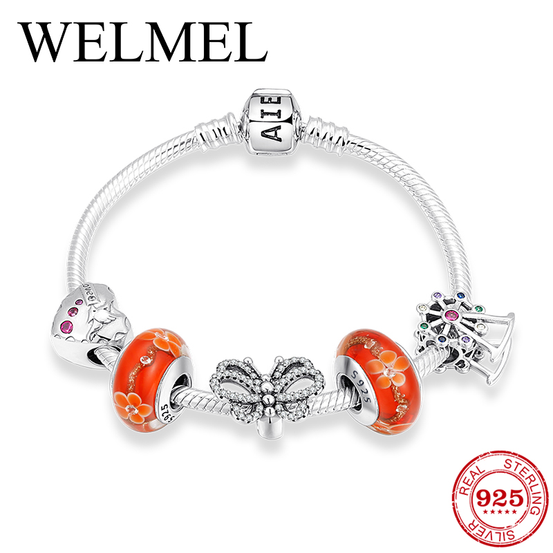 Valentine's Day Gift 925 Sterling Silver Bracelets With CZ Crystal Charm Murano Glass Beads Personalized Bracelets For Women