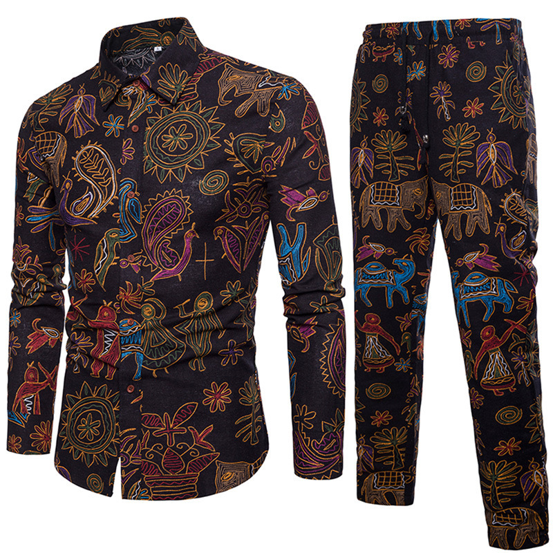 2018 New Style MEN'S Suit Nation Wind Flower Set-Style Linen Trousers Loose And Plus-sized Men's Trousers