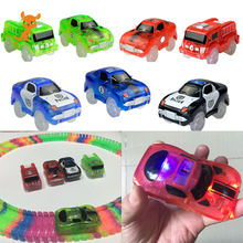 Magical luminous track Racing car with colored lights DIY Plastic racing track Glowing in the dark Creative gifts toys for Kids magic track mini racing car race cars track luminous road slot glow in the dark stunt railroad flexible glowing toys for boys