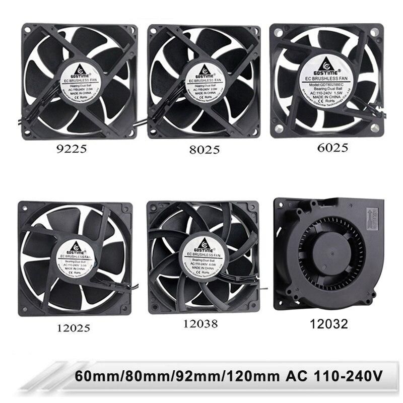 Gdstime-ventilador de refrigeración para caja de ordenador, ventilador de refrigeración de 60mm, 80mm, 90mm, 110mm, EC sin escobillas, 120V, 220V, 230V, 240V, 120V, 1 Uds.