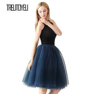 Image 2 - Streetwear 5 couches 65 cm Midi jupe plissée femmes gothique taille haute Tulle jupe patineuse rokjes dames ropa mujer 2019 jupe femme
