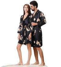 5XL 4XL Two-piece Oversize men sexy robe & Women sleepwear sets Couples set Pijamas Dress Tunic Silk sleep