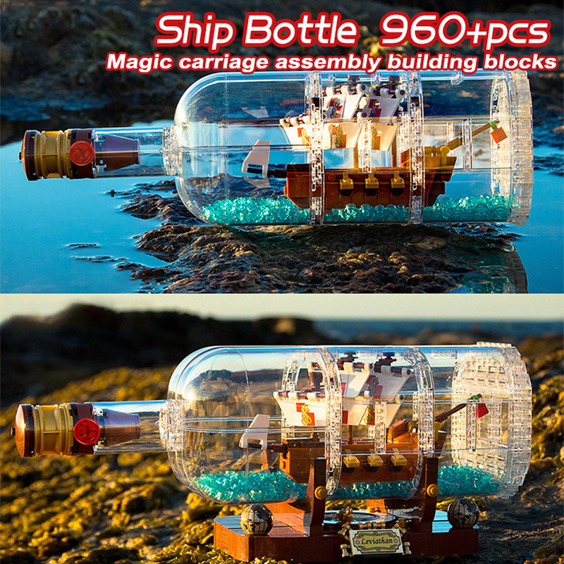 Ideas Creator Pirates of the Caribbean One Piece Compatible <font><b>21313</b></font> Ship Bottle Boat Building Blocks Bricks Toys For Boy Gifts image