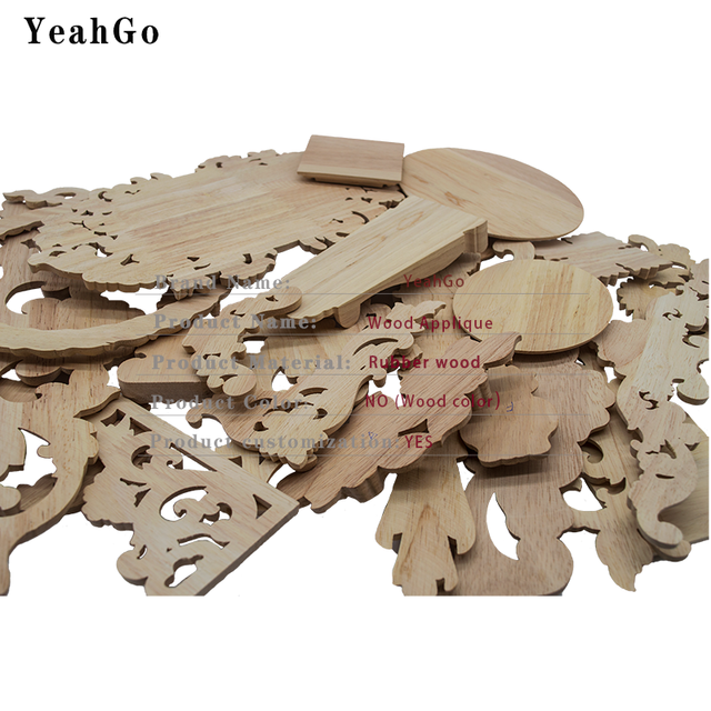 YeahGo European-style solid wood flower wood carving Round applique Furniture Home Wall decorative decal accessories Part-one 6