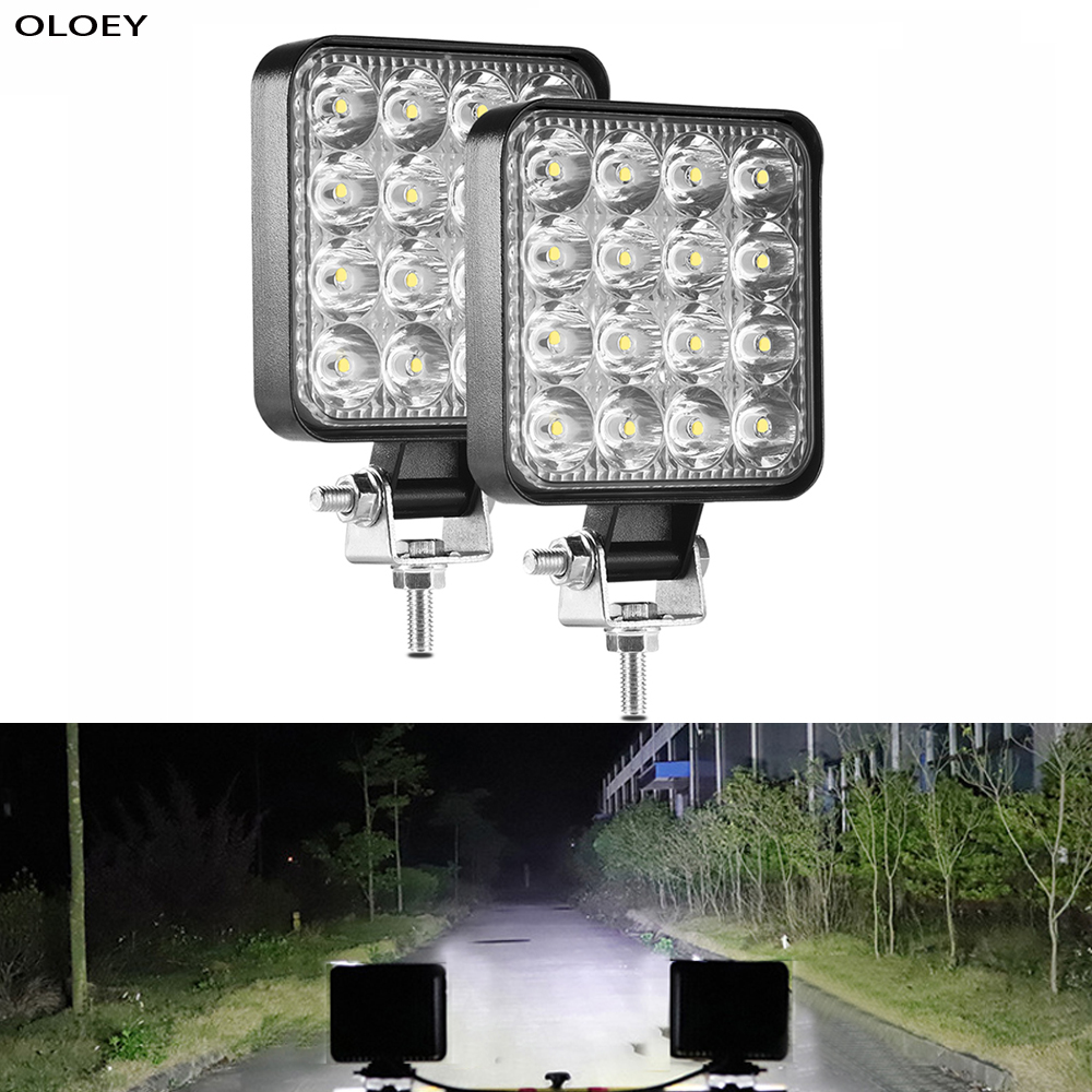 LED Light Bar 48W LED Work Light  Barra Led Square Headlight 12V 24V For Truck Offroad 4X4 SUV Tractor Boat Excavator ATV