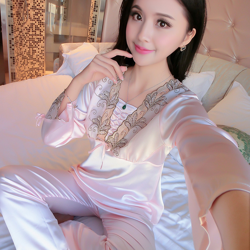 Hot Selling Autumn WOMEN'S Pajamas WOMEN'S Long Sleeve Imitated Silk Fabric Pajamas Suit Women's Embroidery Home Wear
