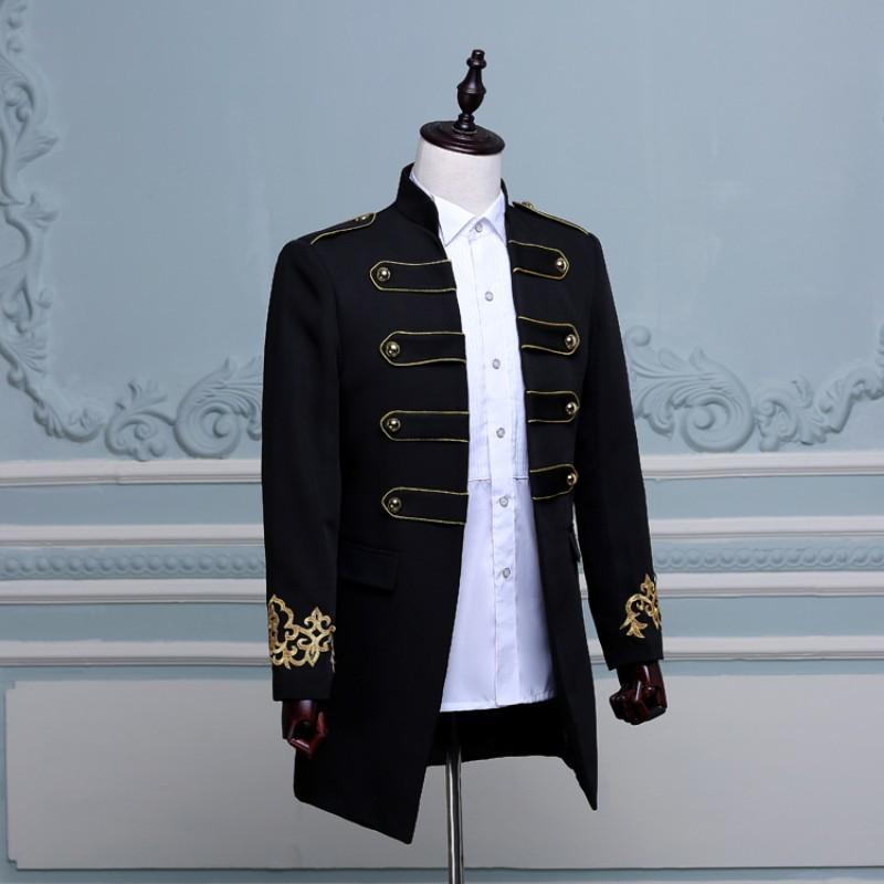 England Style Men Blazer Elegant Double Breasted Long Slim Fit Blazer Male Design Wedding Party Suit Jacket Plus Size M-2XL