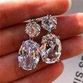 Huitan Simple Stylish Big Oval CZ Women Drop Earrings Elegant Female Accessories Brilliant Cubic Zirconia Earring Trendy Jewelry