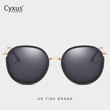 Cyxus Retro Rodada Óculos Polarizados para As Mulheres UV 400 Óculos Espelhados 1001