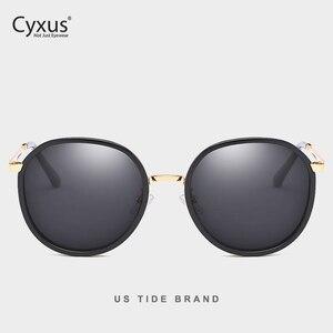 Image 1 - Cyxus Retro Ronde Gepolariseerde Zonnebril Voor Vrouwen Uv 400 Mirrored Brillen 1001