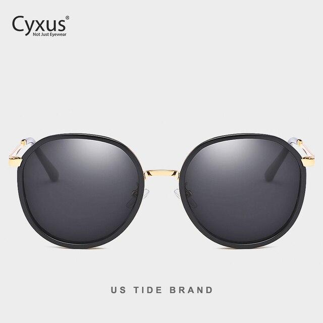 Cyxus نظارة شمسية مستقطبة دائرية ريترو للنساء UV 400 نظارات عاكسة 1001