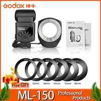 Godox ML-150 Macro Ring Flash Speedlite Leitzahl 10 mit 6 Objektiv Adapter Ringe für Canon Nikon Pentax Olympus Sony kameras