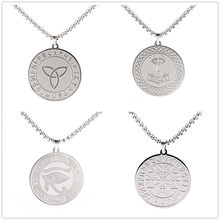 Collier Runes Viking, en acier inoxydable, marteau Thor, oeil de Ra Horus Compass Valknut, amulette pour hommes