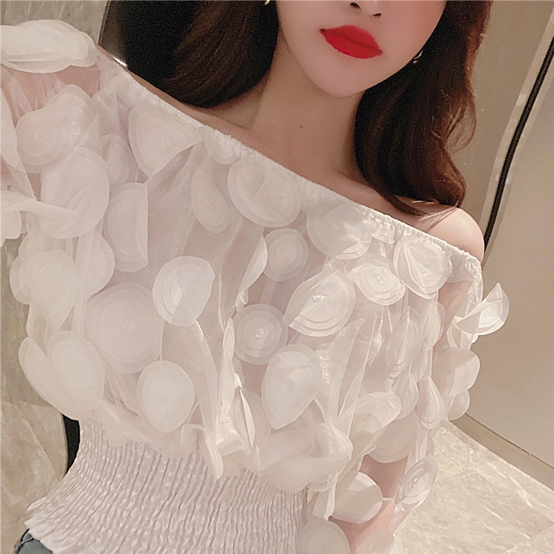 H022cddede97b424c9b90a0530095696d9 - Sexy Off Shoulder womens tops and blouses Mesh Sheer Puff Sleeve Tops Summer 3D Flower Vintage White Women Shirt Blouse