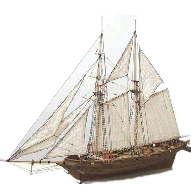 1/100 escala halcon 1840 diy veleiro modelo kit brinquedos 400x150x300mm montagem de madeira artesanal barcos vela crianças brinquedos presente