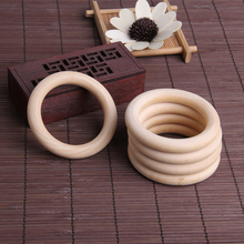 5pcs 70mm Baby Wooden Teething Rings Necklace Bracelet DIY Crafts Natural New 72