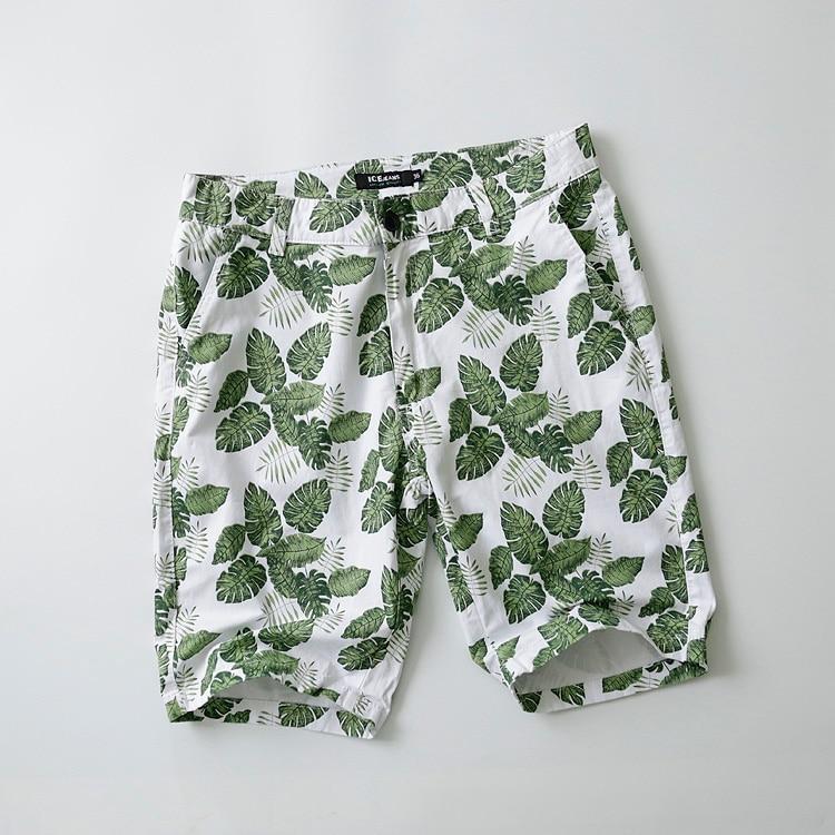 Thin Fitness Shorts Men Casual Printed Cotton Sleeping Stretch Waist Elastic Fashion Vintage Large Beach Loose Clothing KK60ND