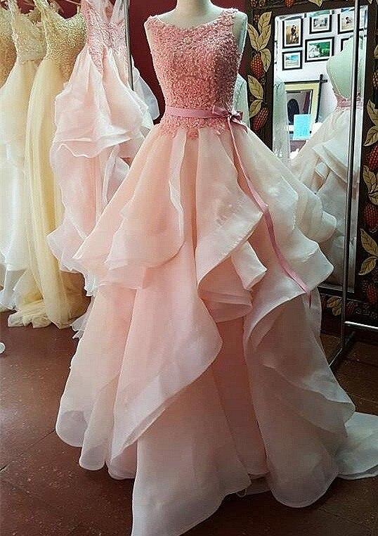 New Arrival Prom Dresses 2020 Scoop Neck Cap Sleeve Floor Length Beading Organza Party Dresses Evening Gown Vestido Longo