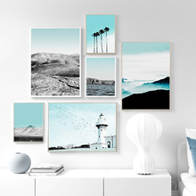 Coconut tree Lighthouse Desert Island HD Wall Art Canvas Painting Nordic Posters And Prints Wall Pictures For Living Room Decor
