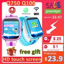 Gps relógio inteligente q750 q100 bebê relógio inteligente com tela de toque 1.54 polegada chamada sos localização dispositivo rastreador para o miúdo seguro pk q50 q90