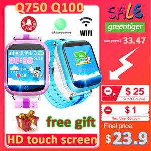 Image 1 - Gps relógio inteligente q750 q100 bebê relógio inteligente com tela de toque 1.54 polegada chamada sos localização dispositivo rastreador para o miúdo seguro pk q50 q90