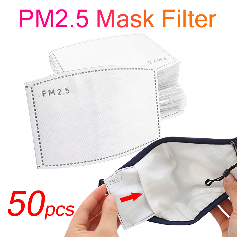 50pcs PM 2.5 Mask Filter Anti Haze 5 Layers Mask Activated Carbon Filter Replaceable  For Adults Mouth Mask Health Care