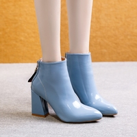 2019 Winter New Women Ankle Boots Pointed Toe Pumps PU Zipper High Heel Blue Ladies Office Shoes Short Fur Warm Boots Female