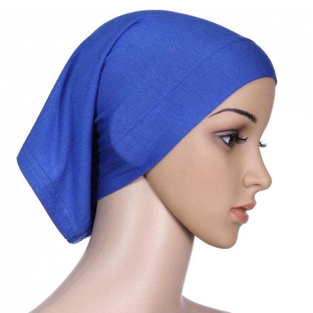 Мусульманский женский шарф Национальный Рамадан аксессуары для волос тюрбан декоративная хлопковая шапка шапочки под хиджаб Мода Защита от солнца пляж - Цвет: Blue
