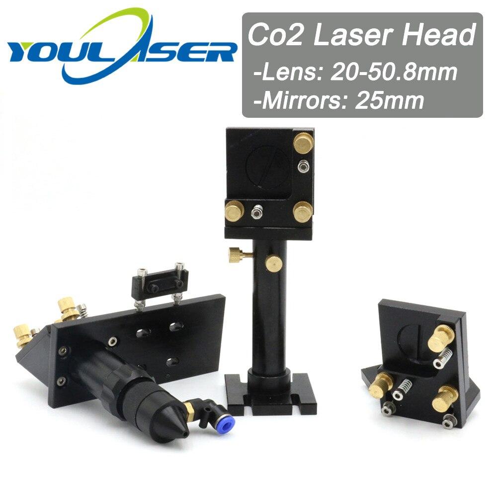 Whole Set CO2 Laser Head Mirror Lens Integrative Mount Houlder For Focus Lens 20-50.8mm And Mirror 25mm
