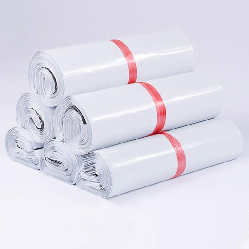 50 шт./лот, белая Курьерская сумка, экспресс-конверт, пакеты для хранения, пакеты для рассылки, самоклеящееся уплотнение, полиэтиленовый паке...