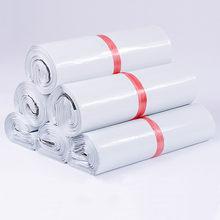 Sac de courrier blanc, enveloppe Express, sacs de rangement, sacs d'expédition, auto-adhésifs, pochette en plastique PE, emballage 24 tailles, 50 pièces/lot