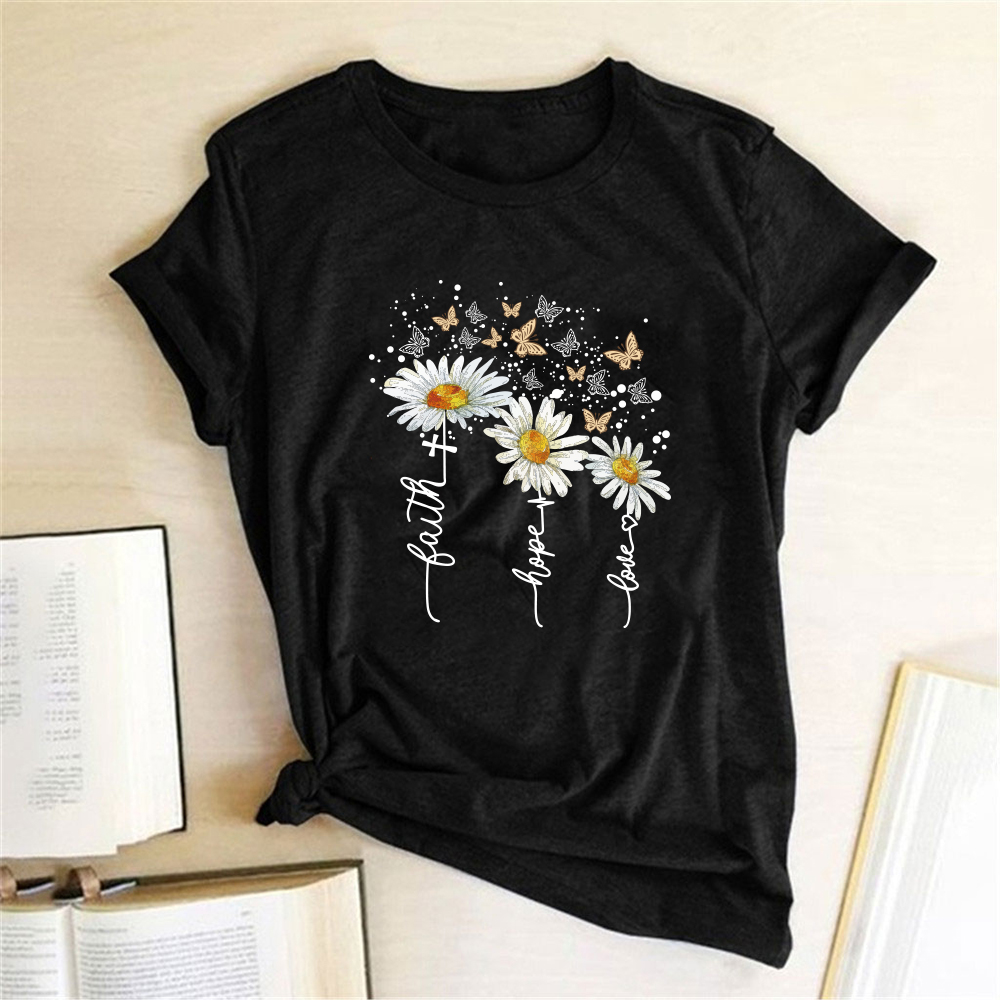 Chrysanthemum Butterfly Print Women T-shirt Short Sleeve Casual Summer T-shirt Femme Graphic Tee Shirt For Lady Ropa De Mujer