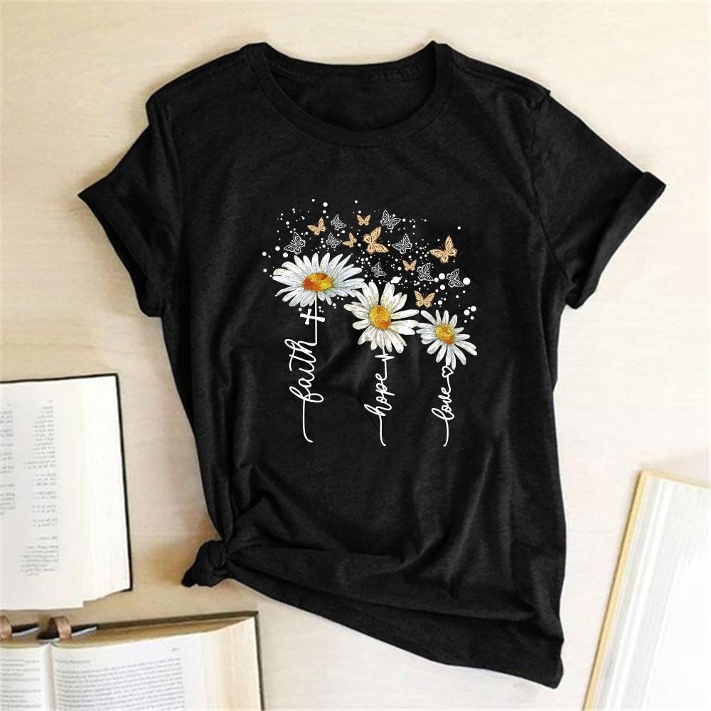 Женская футболка с короткими рукавами, Повседневная летняя футболка с принтом хризантем и бабочками