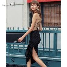 AEL Для женщин Летнее Длинное Платье черное асимметричное плиссированное платье вечерние платье сексуальное платье с открытой спиной Женские вечерние ночное Vestidos