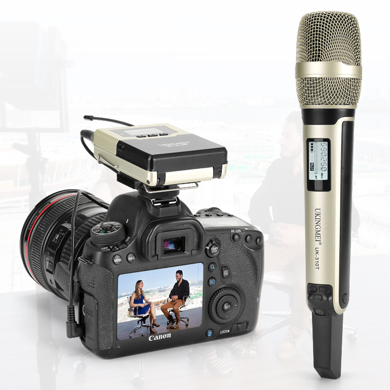 Wireless Handheld Microphone for DSLR Camera Outdoor Recording, Interview, Video Shooting, DV Portable Wireless Microphone image