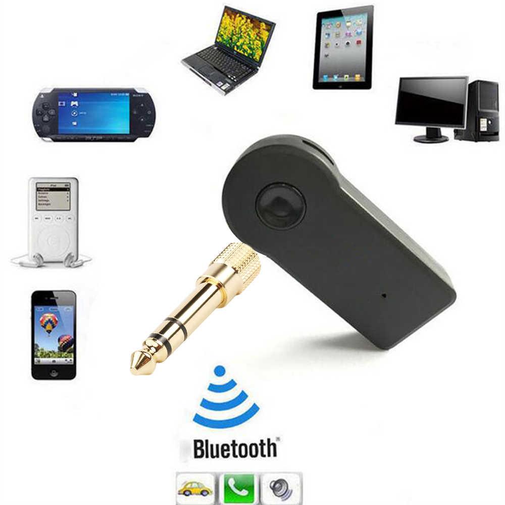 3.5mm żeńskie gniazdo na 6.5mm wtyk męski zestaw słuchawkowy Jack Stereo słuchawki samochodowe bezprzewodowa Bluetooth mikrofon audio Adapter konwerter
