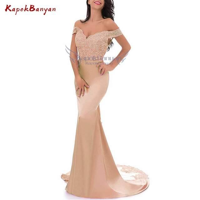 b9c57a42e1cb Vestidos de dama de honor de sirena con Apliques de encaje Vintage sin  hombros de champán de nueva llegada para fiesta de boda