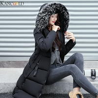 KANCOOLD Winter Women Jacket Warm Hooded Parkas Large Fur Collar Embroidery Double Sided Thick Overcoat Cotton Padded Outwear